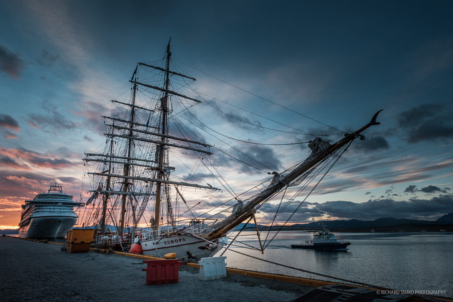 Sunrise in Ushuaia port. Europa woke up to a new day, ready to set the sail for Antarctica.