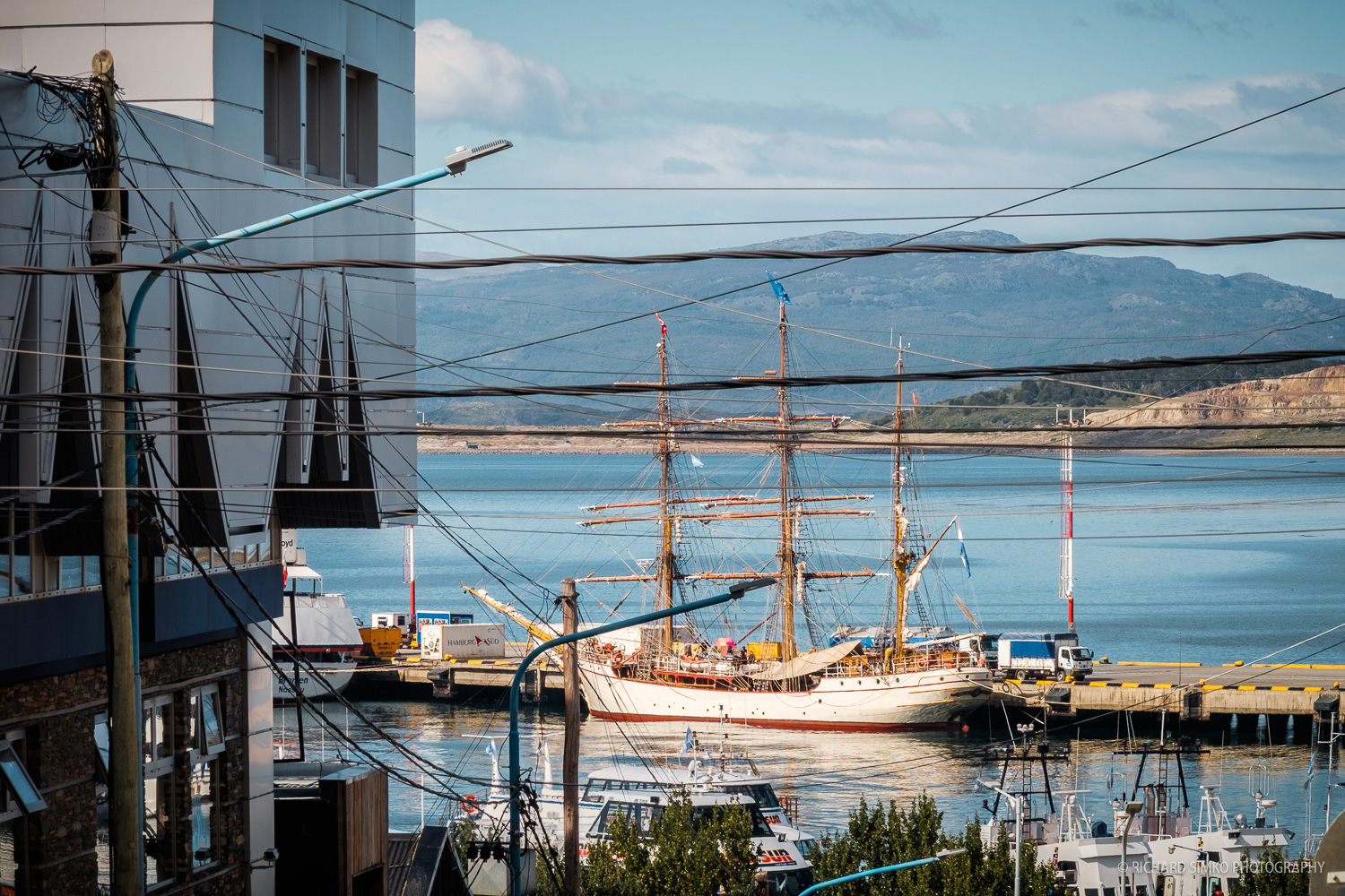 Europa at the port. Shots from far away streets of Ushuaia.