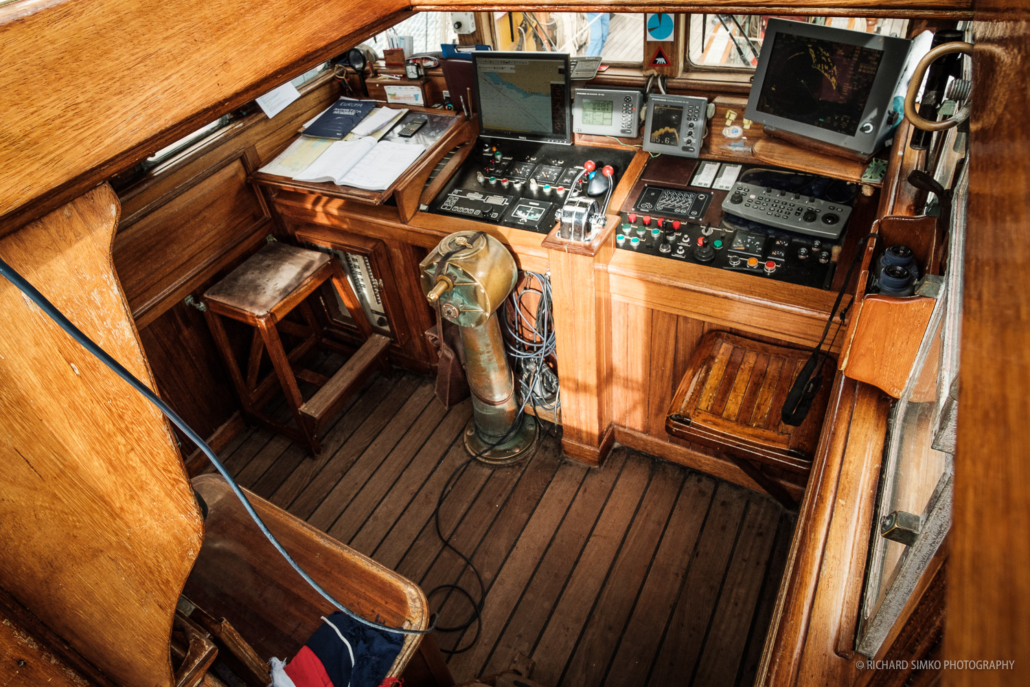 """Wheelhouse"" is the brain of the ship with all necessary equipment to sail it safely and efectively."