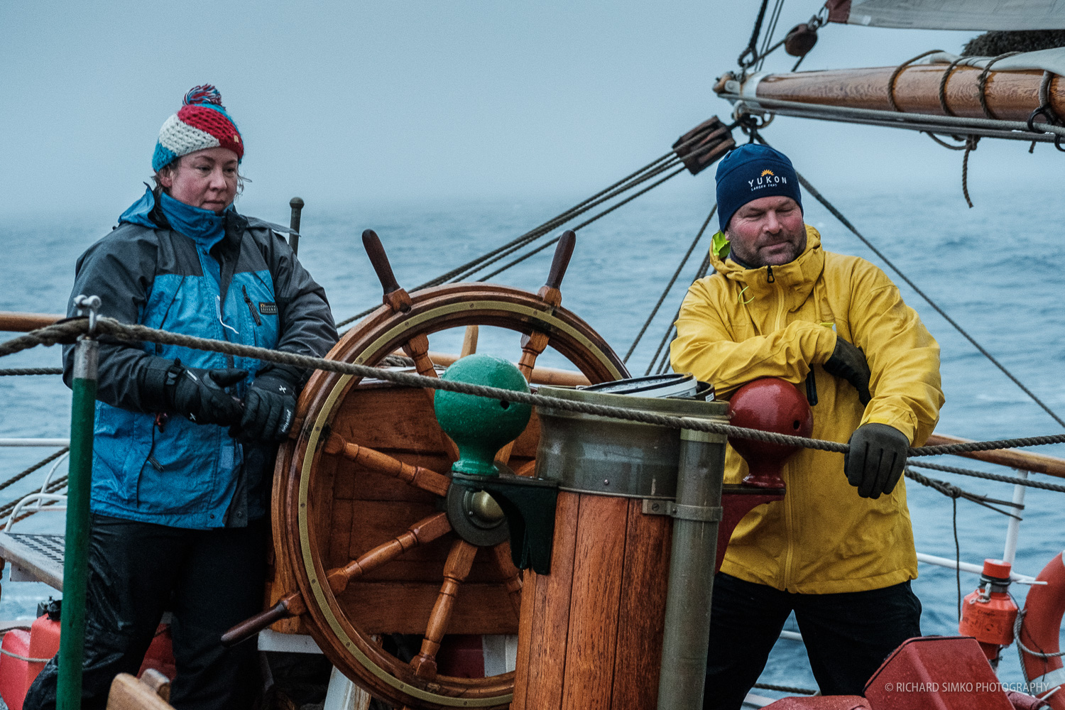 Frits and Merel on duty confidently steering Europa towards Antarctic shores.