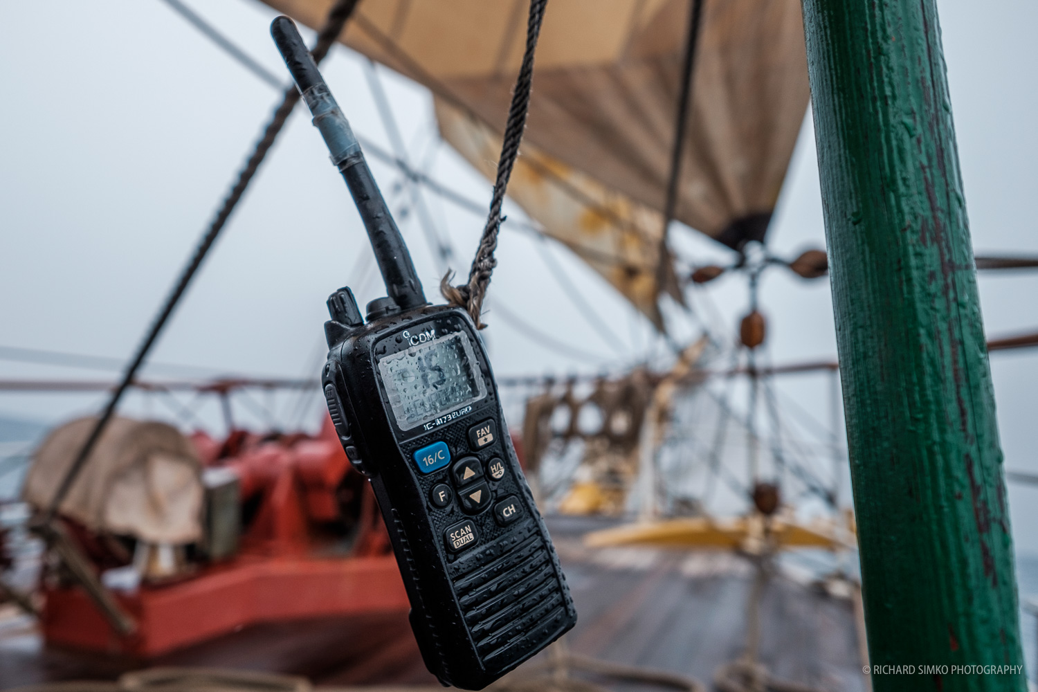 Walkie talkie we used on lookout shifts to report to wheelhouse. Any obstacles we spotted including ships, icebergs, floating containers, objects that may damage the ships have to be reported to the captain or 1st mate. Some of the smaller ones may not be picked up by radar, yet they are big enough to jeopardise the safety of the ship and crew.