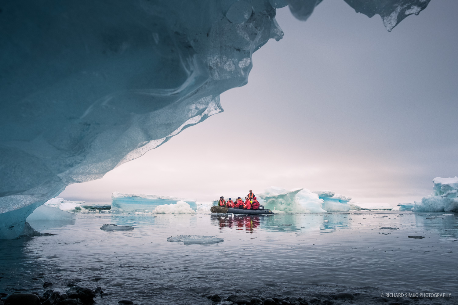 The first batch voyage crew arrives to Vega Island landing site finding their way between constantly moving ice.