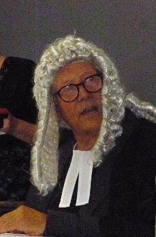 Peter Harper playing the Judge at Uiniversity of Bath scratch production