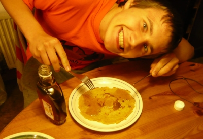 Oh God, it's Pancake Day. With maple syrup fresh from the woods of Wisconsin.