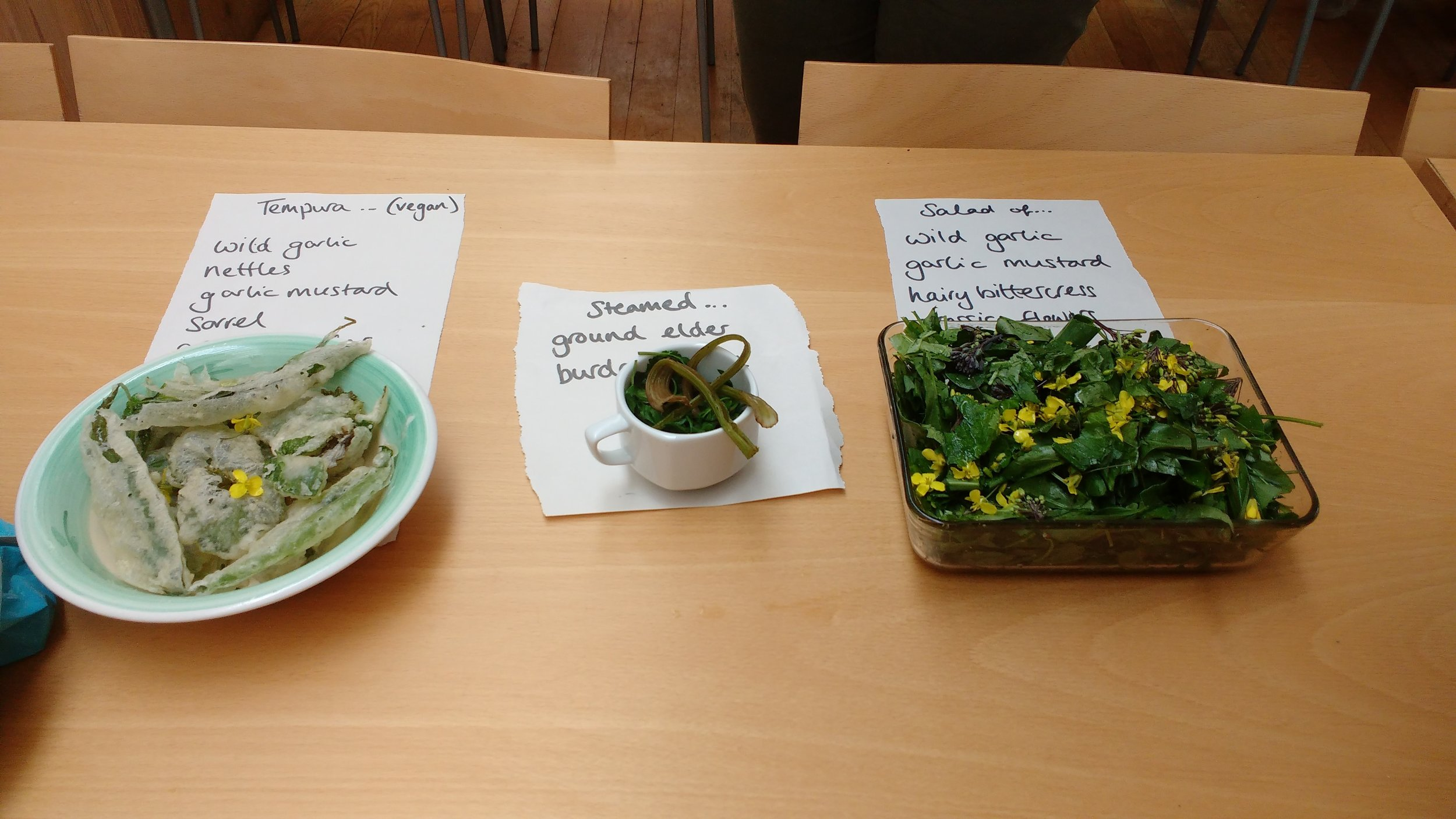 Wild foods prepared as tempura, steamed greens and salads