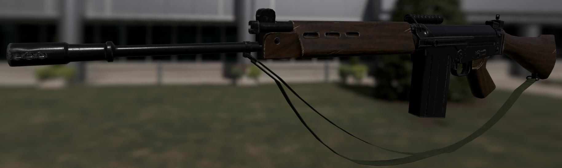 FN FAL using the same system with a new material, varnished wood
