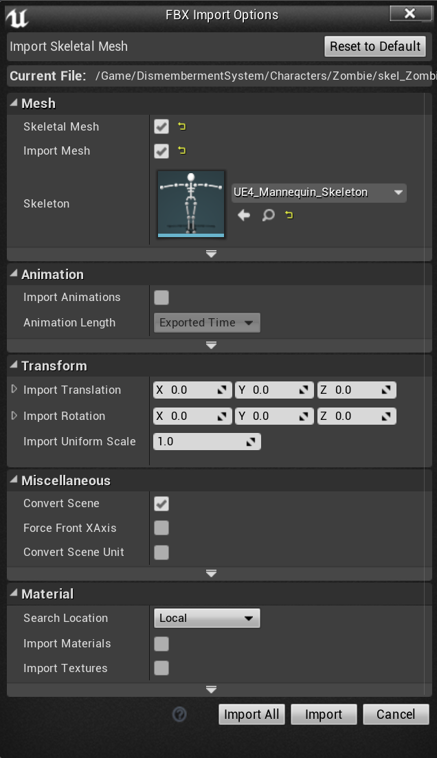 Click the image to show the full import options