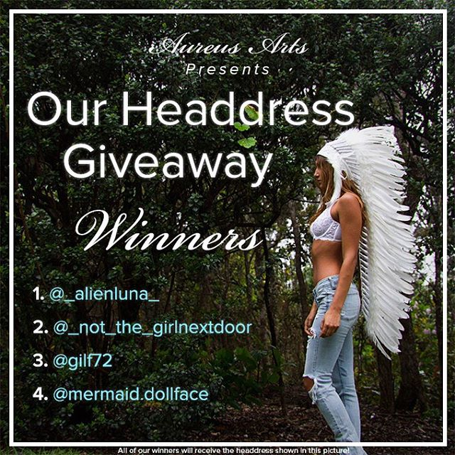 ...Sorry for the delay everyone! 📢 It's ANNOUNCEMENT TIME📢  As a part of our biggest Giveaway yet, Our 4 large All White Headdress Winners are:  @_alienluna_ @_not_the_girlnextdoor @gilf72 @mermaid.dollface !!Congratulations!! I want to thank everyone for entering and sharing the love. Rest assured this won't be our last giveaway, so keep your eyes peeled!! 🏆❤️🌟💰 #aureusarts #aureusartsgives4000 #headdress #edmlife #edmcommunity #raverfamily #winning #feathers #PLURwarriors 🙌