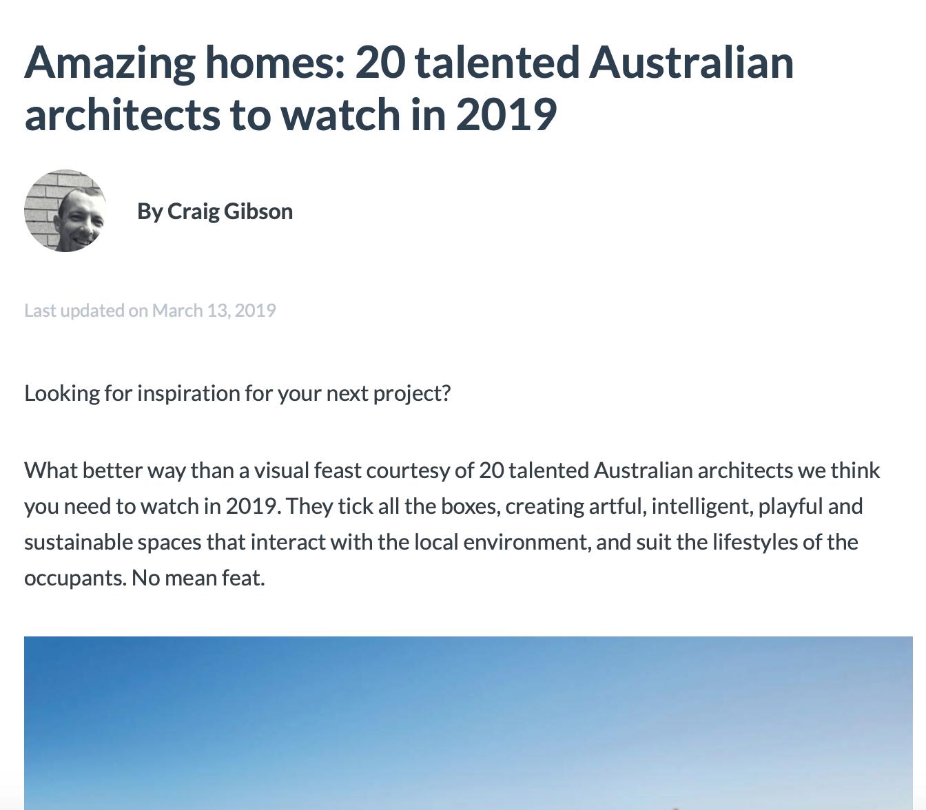 2018 Amazing Architects to Watch    February 2018  National