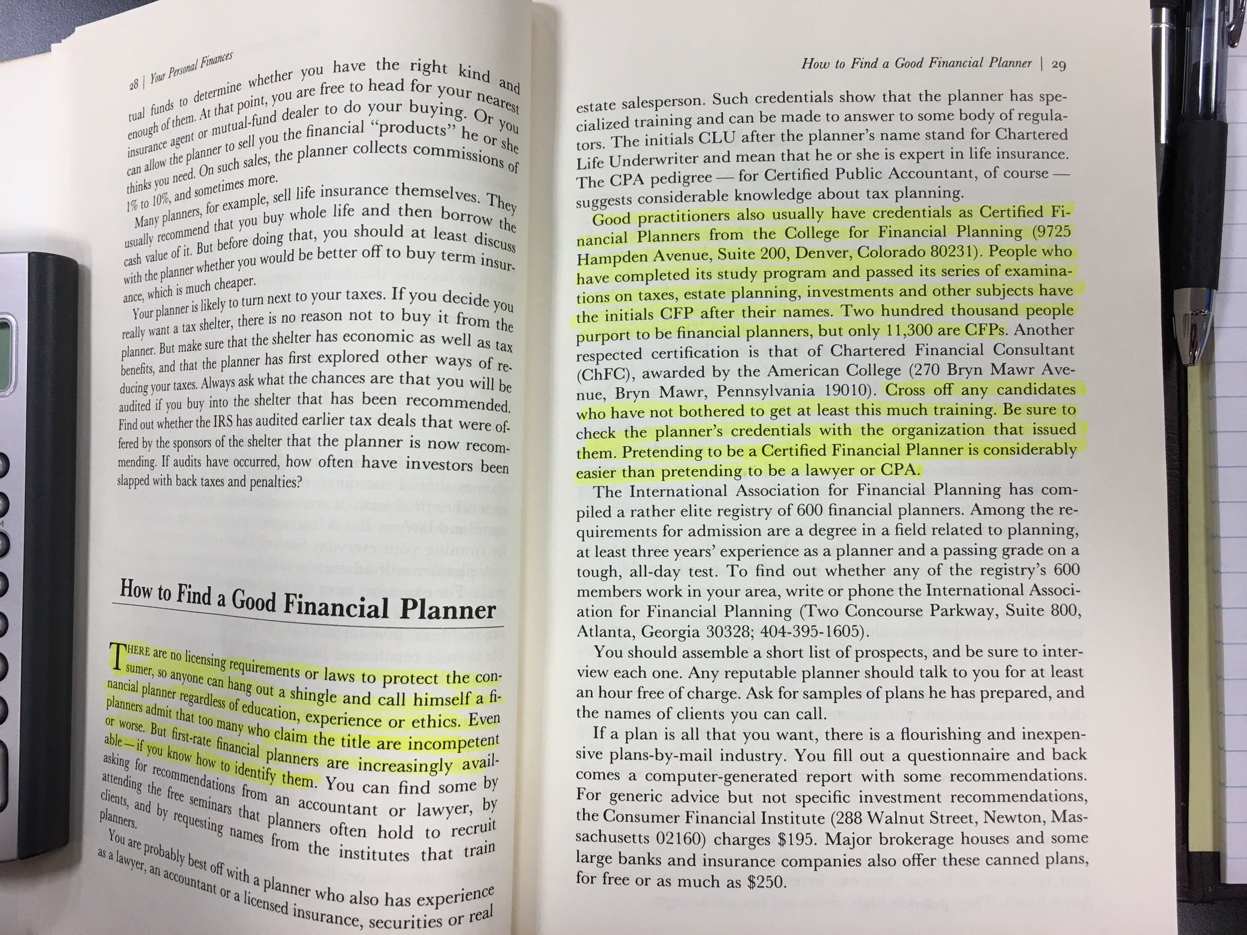 """Marshall Loeb's """"MONEY Guide 1987"""" and his advice for finding a financial planner. I think there are a few more of us these days :-)"""