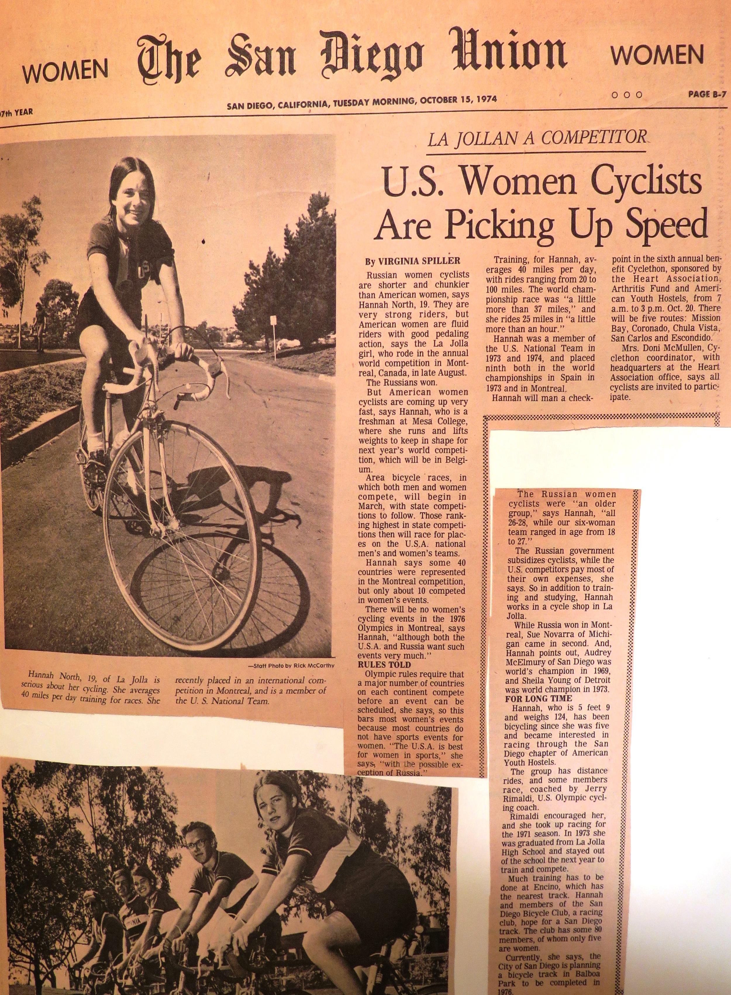 1974 Union Tribune article about Hannah North