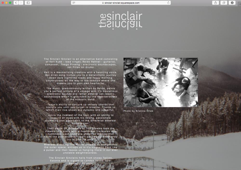 Website UI design for The Sinclair Sinclair