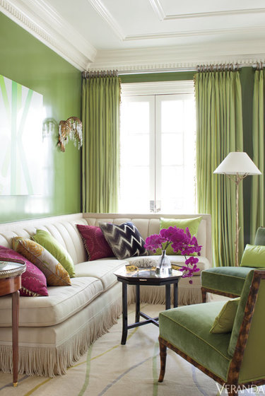 Lime infused living room from Veranda   This interior just sings of spring and warm days in the garden. Much more of this cold and I am repainting my house.