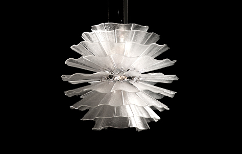 "The Organza fixture by Charles Loomis is made of layers of sculpted etched glass and available in Diameters up to 60"". Spectacular in a stairwell!"