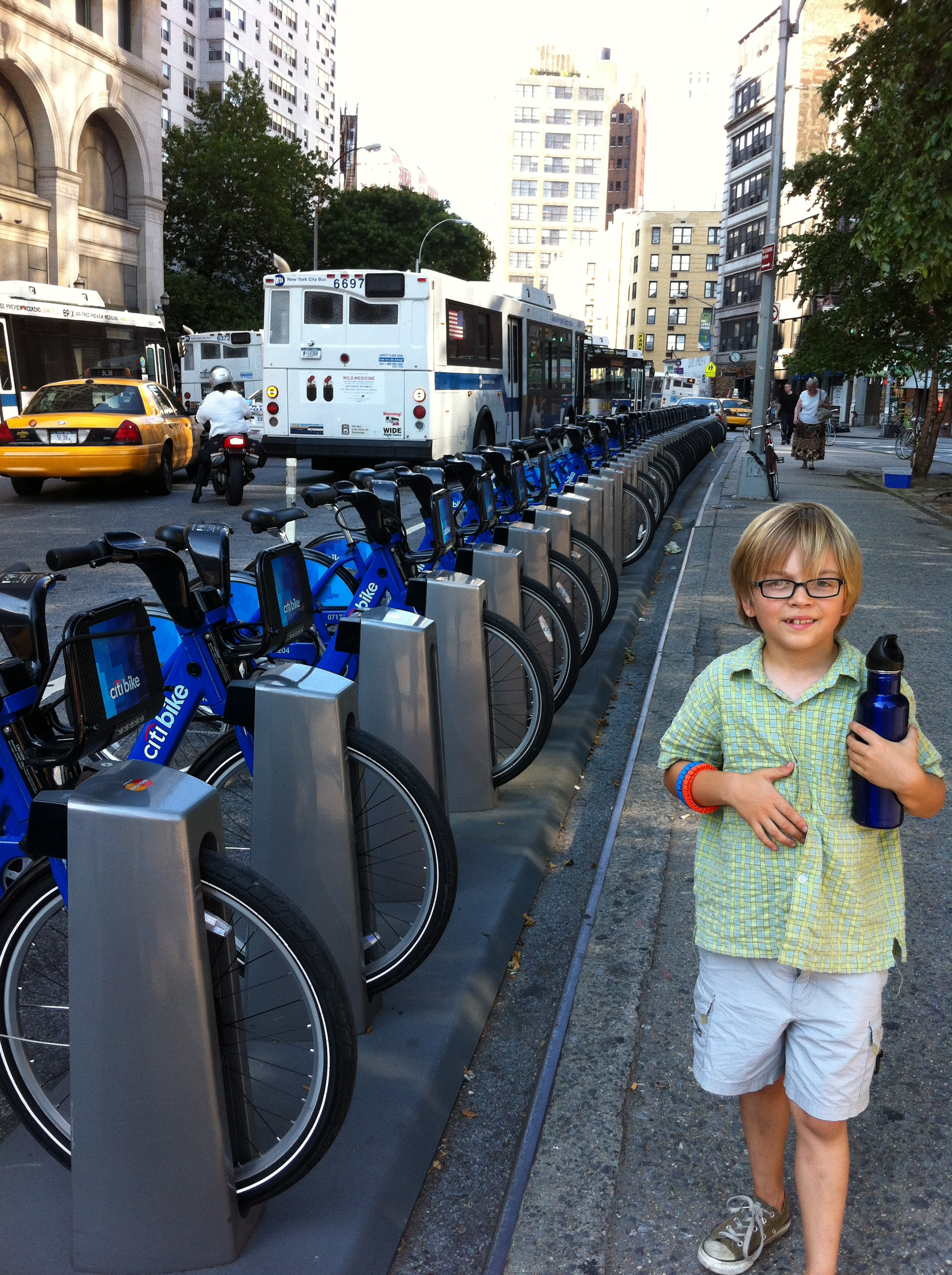 Elliot loves CitiBikeShare... but wonders when they'll come in kid sizes?