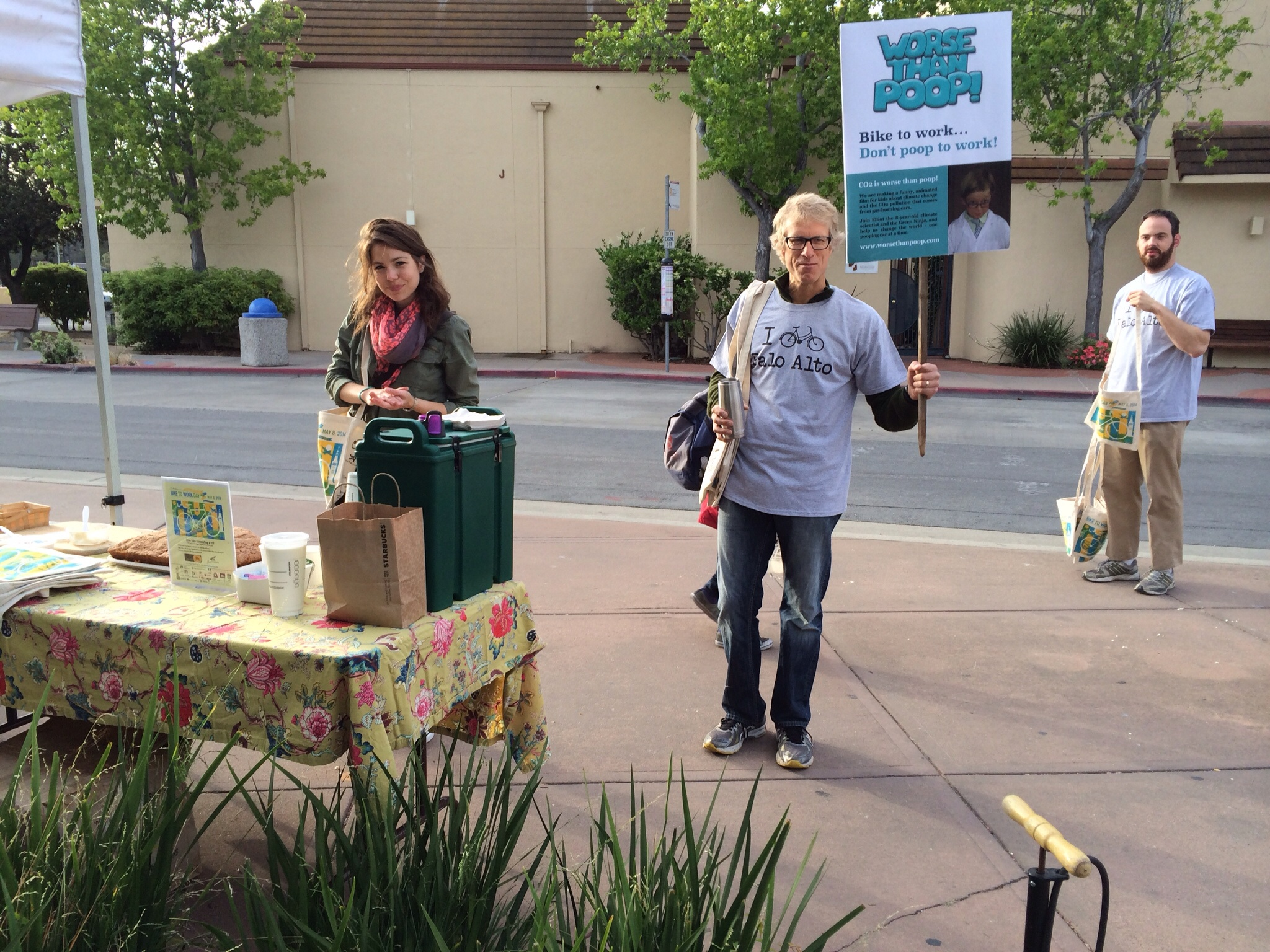 """Sven Thesen at 7am, waiting for commuters and chanting """"Worse Than Poop!"""""""