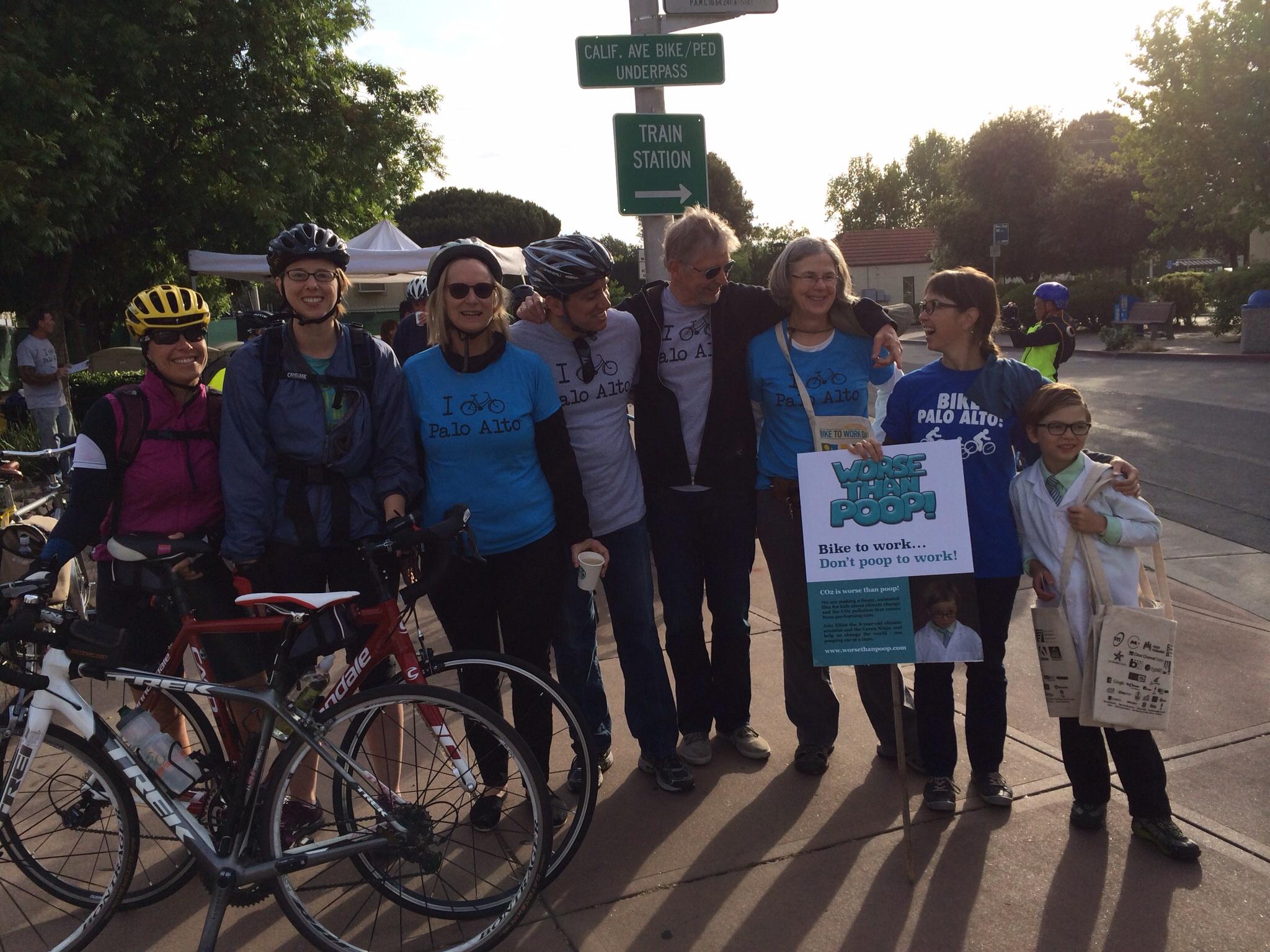 Elliot & Vanessa with team Bike Palo Alto - including Kathy Durham, Mayor Nancy Shepherd, Chief Transportation Official Jaime Rodriguez, and City Manager Jim Keene.