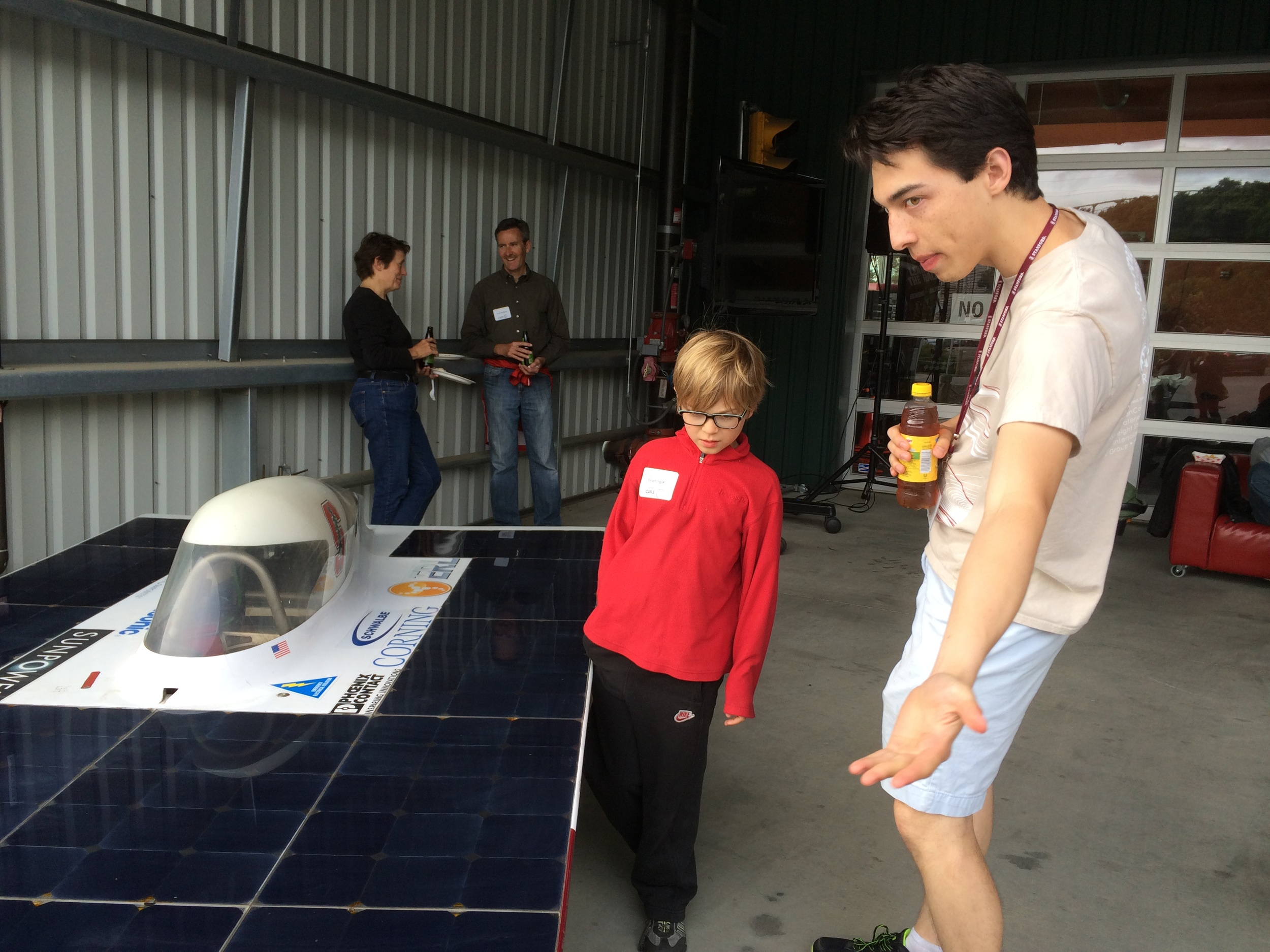 Three Stanford Solar Cars were on display. Richard Lui tells Elliot about Xenith, which competed in the 2011 World Solar Challenge.