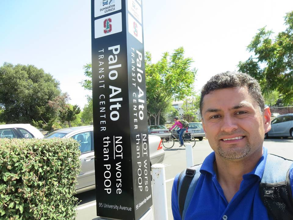 Luis Villa at the Palo Alto transit center - our most recent #worsethanpoop selfie!
