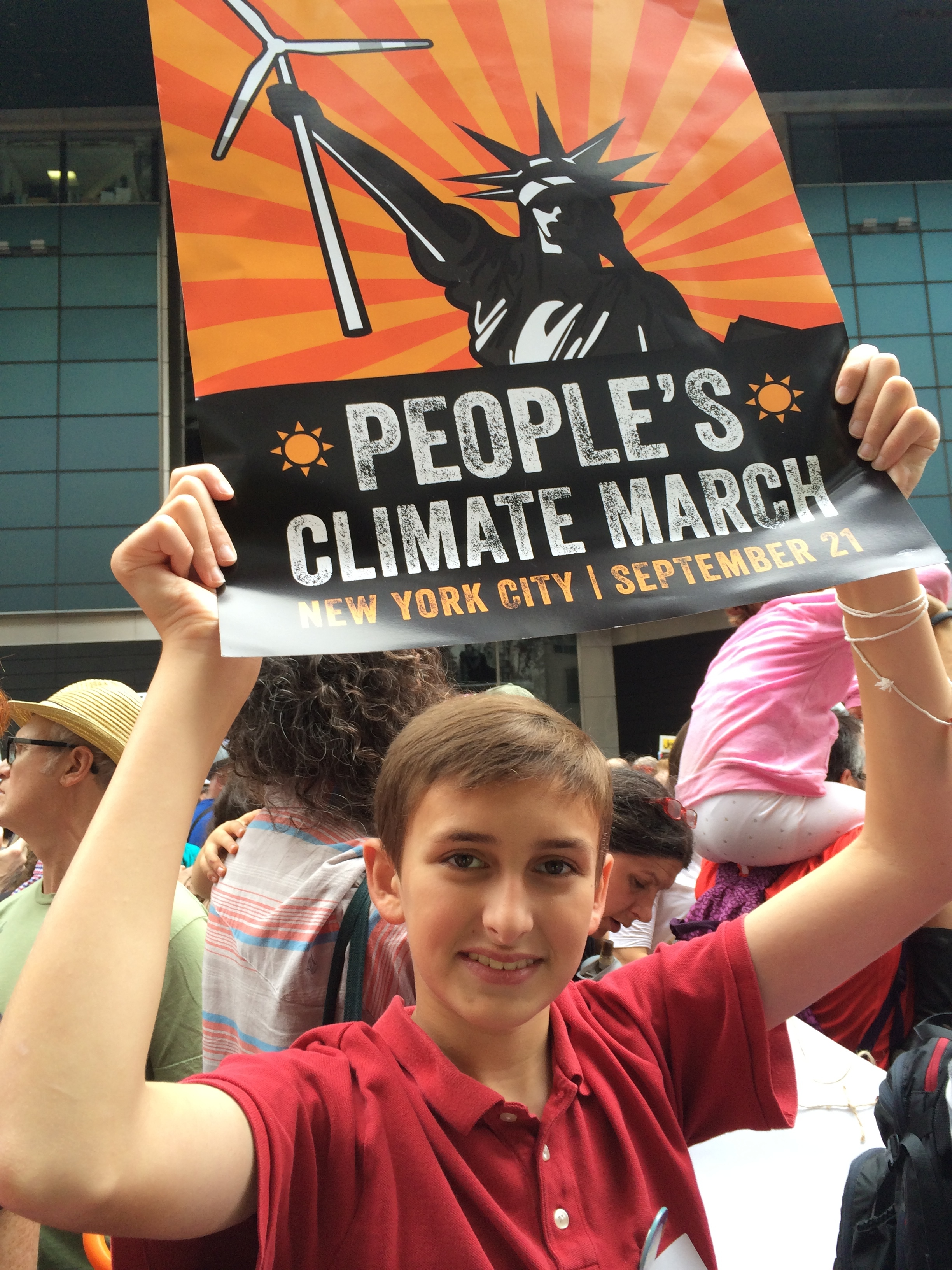 My dear friend Sharon's 14-year-old son, Sam, at the Peoples Climate March