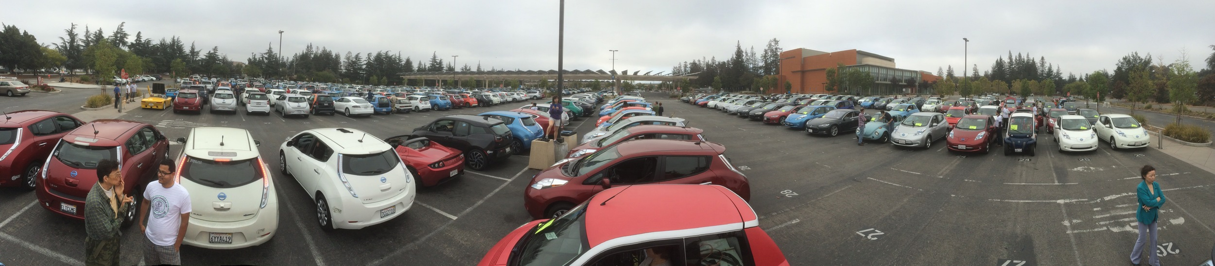 EV drivers patiently waiting their turn in the line-up