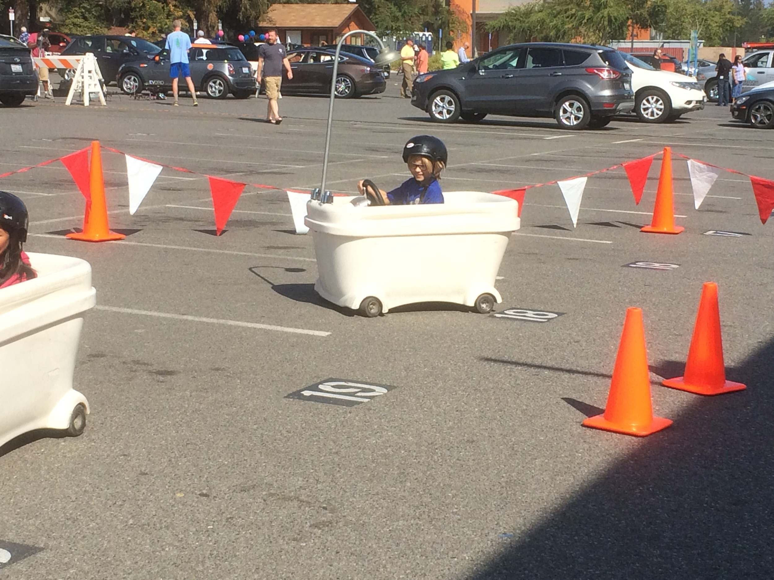 Most fun of the day: driving an electric bathtub!