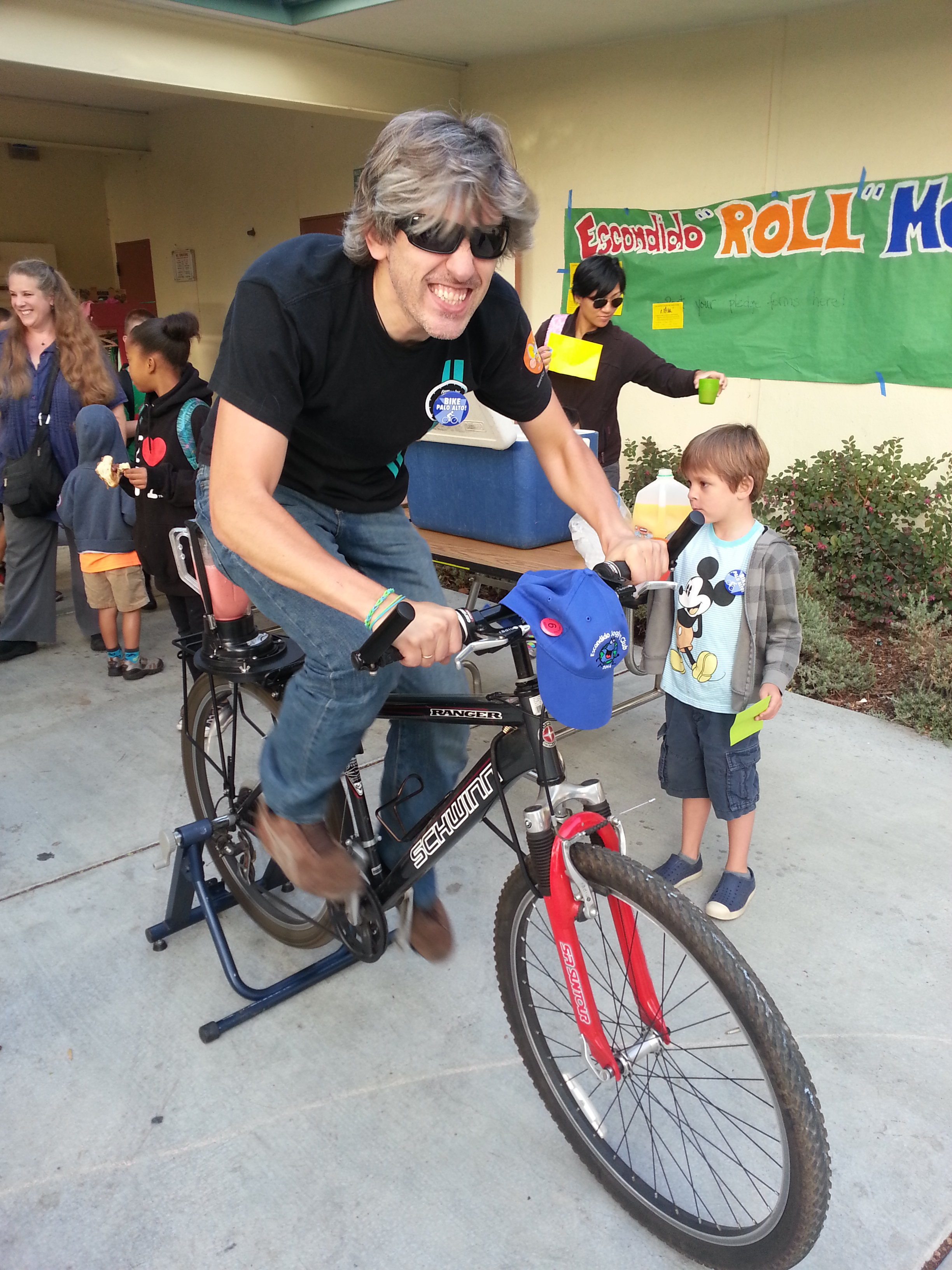 Ender rides the bike blender on Walk & Roll, Day One. The blender is made by  Rock the Bike , and was donated by  GreenTown Los Altos .