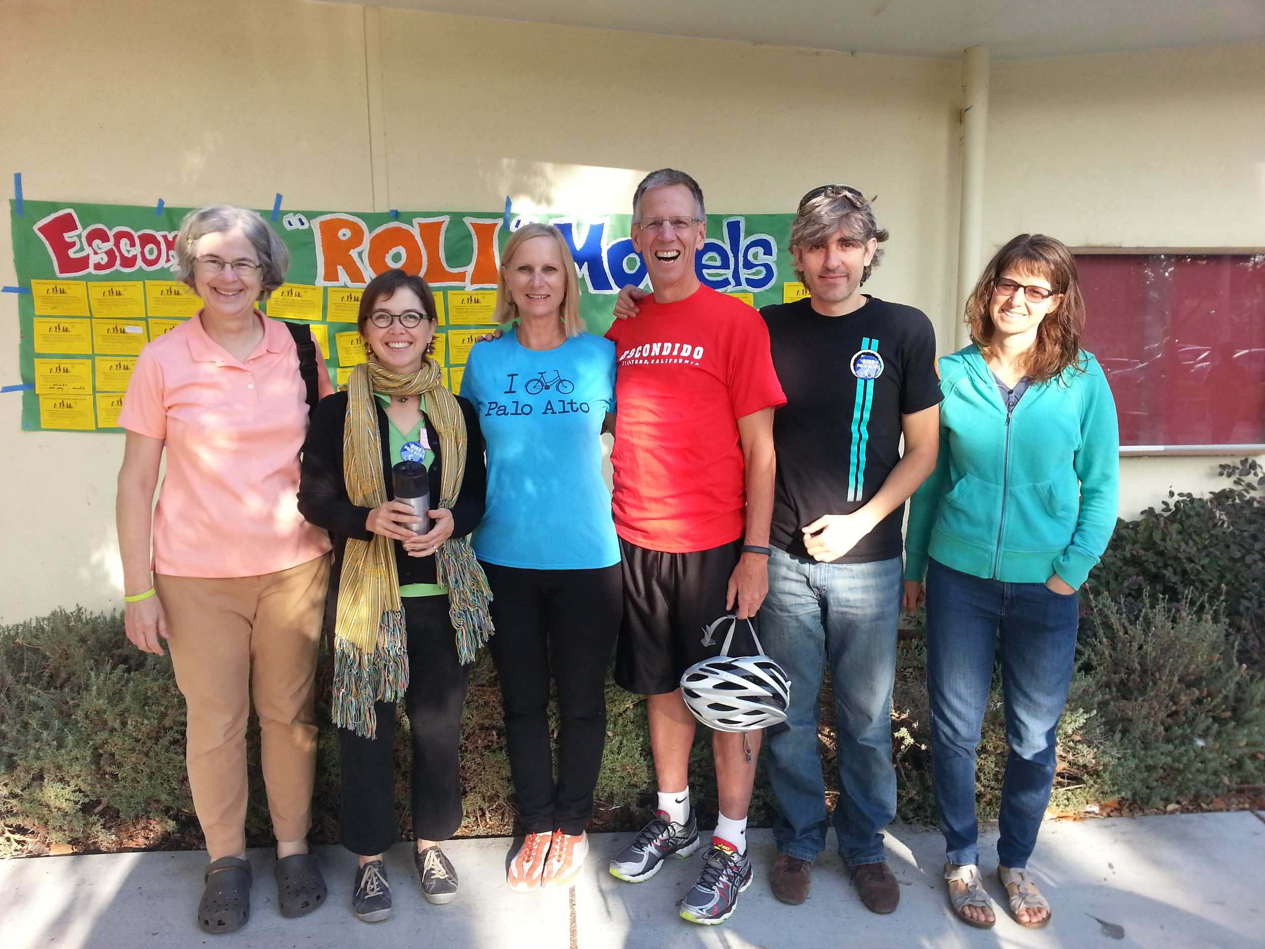 Our awesome Walk & Roll team in front of the Wall of Fame: Palo Alto Safe Routes to Schools coordinator Kathy Durham, Vanessa Warheit, Palo Alto Mayor Nancy Shepherd, PAUSD Superintendent Max McGee, Ender Martinez, and Amy Butte