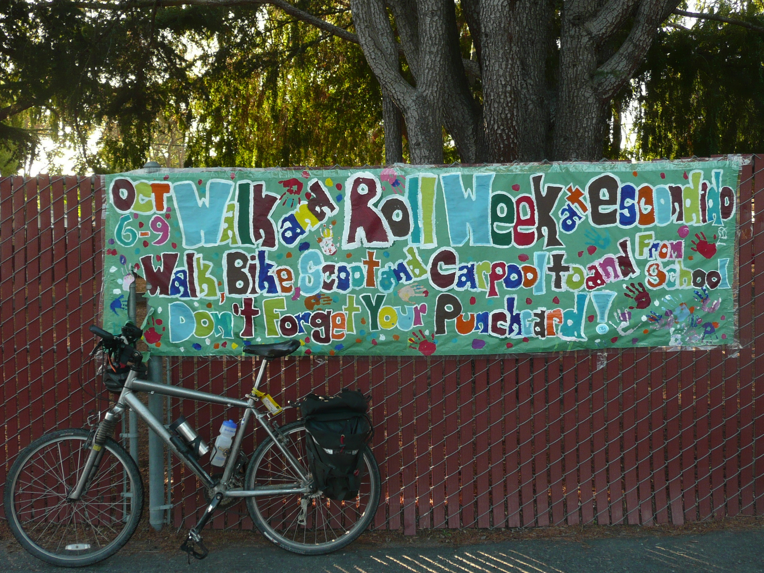 Our awesome Walk & Roll banner, painted by the after-school kids club.