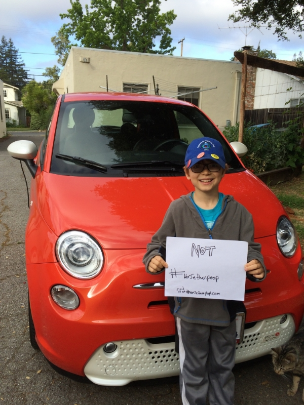 Elliot with FrankE, our all-electric Fiat 500e.
