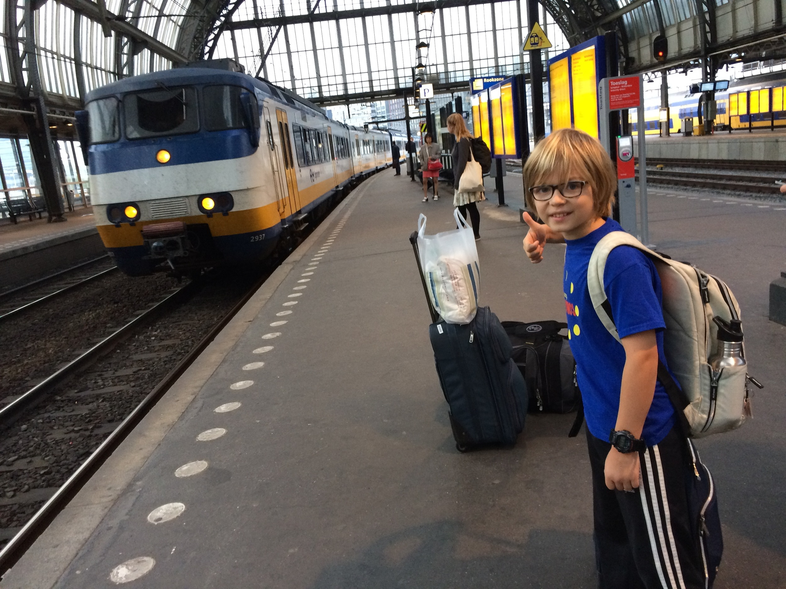 The train arrives to take us to Schiphol airport - and home.
