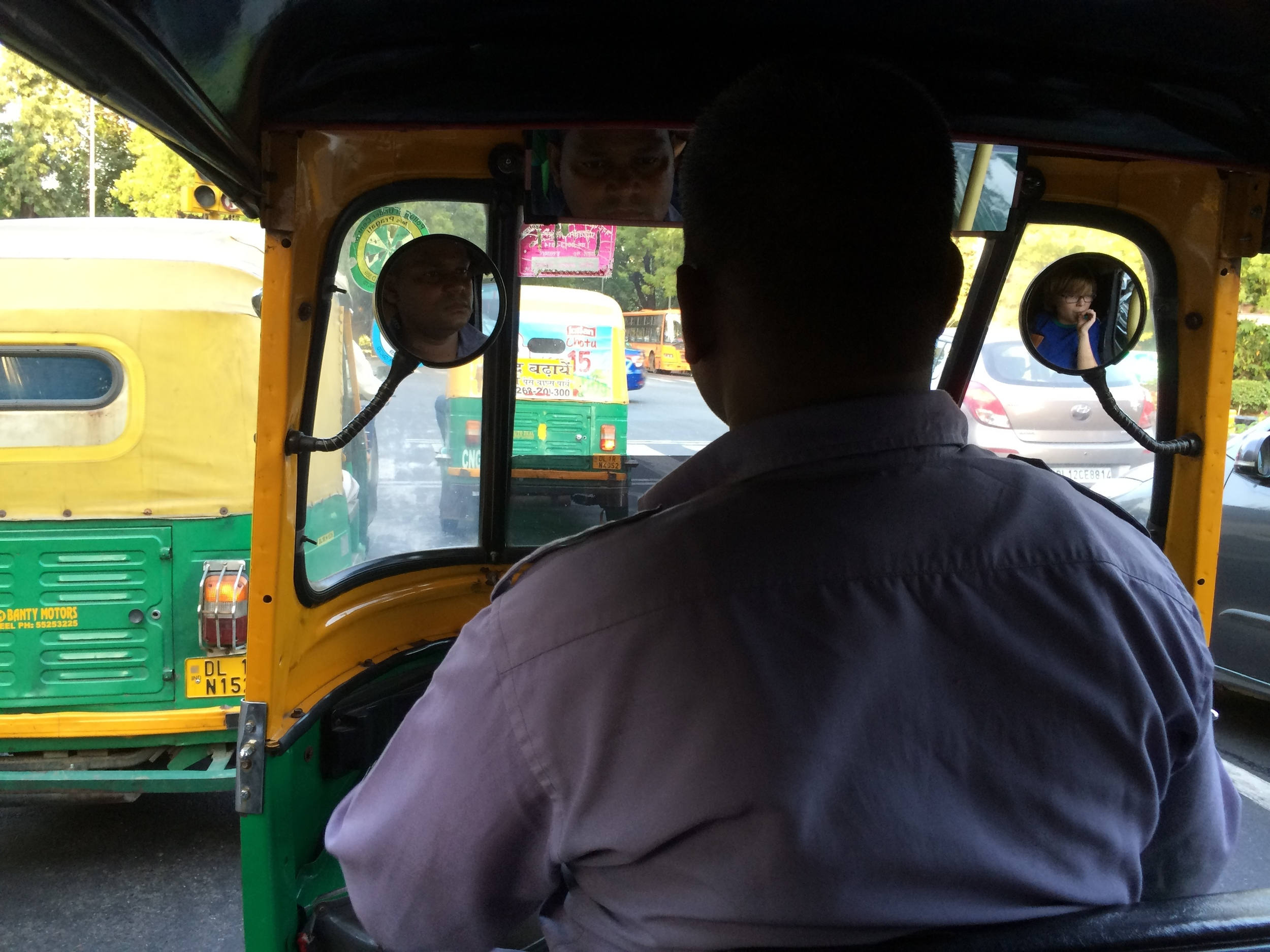 Elliot on board a New Delhi auto-rickshaw.