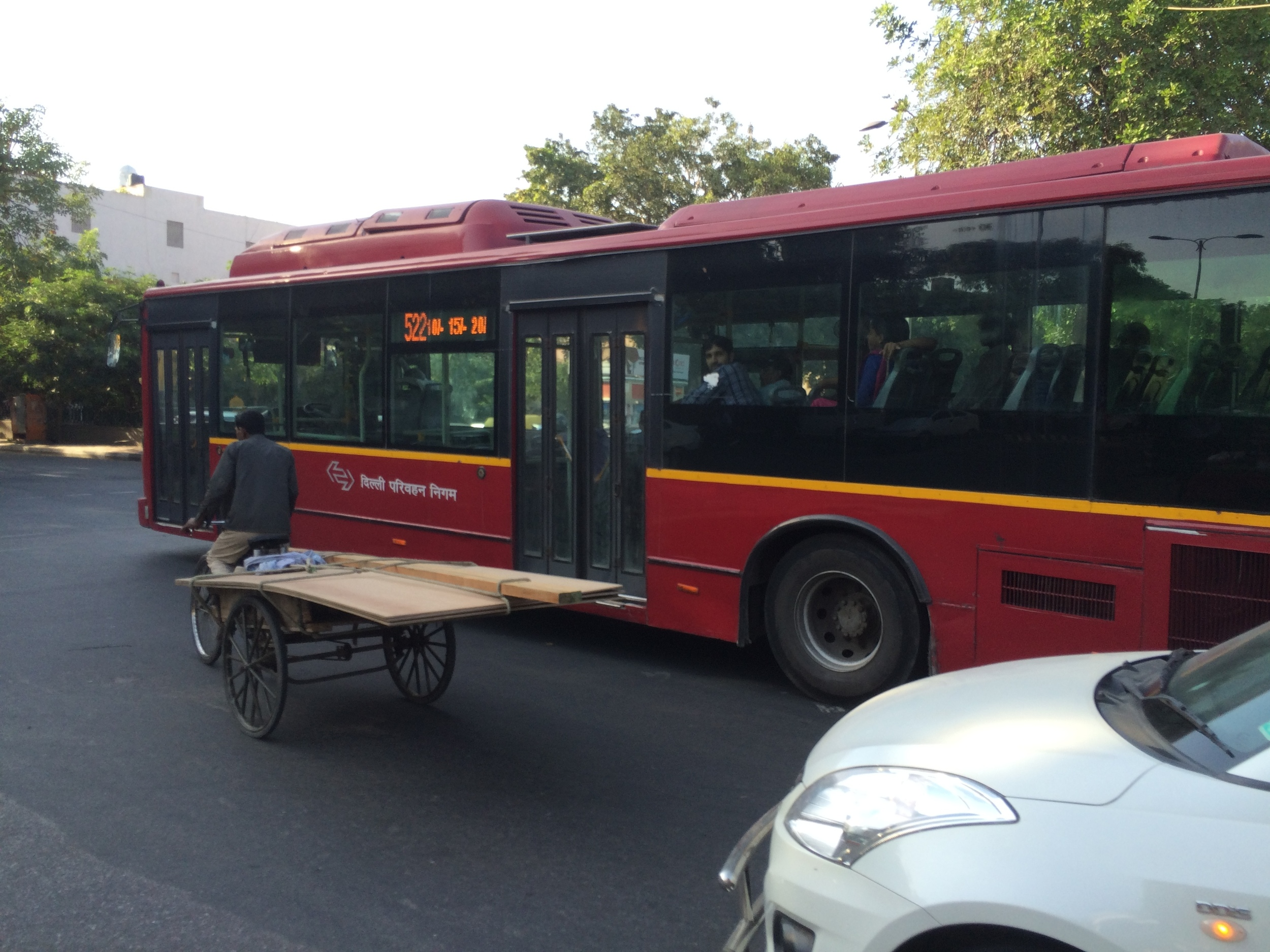 Delhi has its own 522 bus line! And lots of bicycle carts.