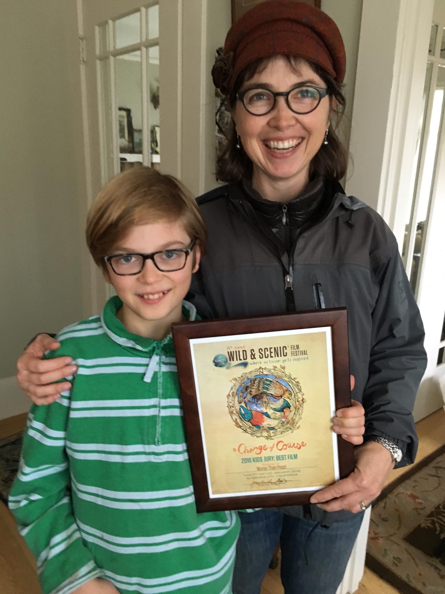 Holding our prize: Kids Jury Award for Best Film, 2016 Wild & Scenic Film Festival