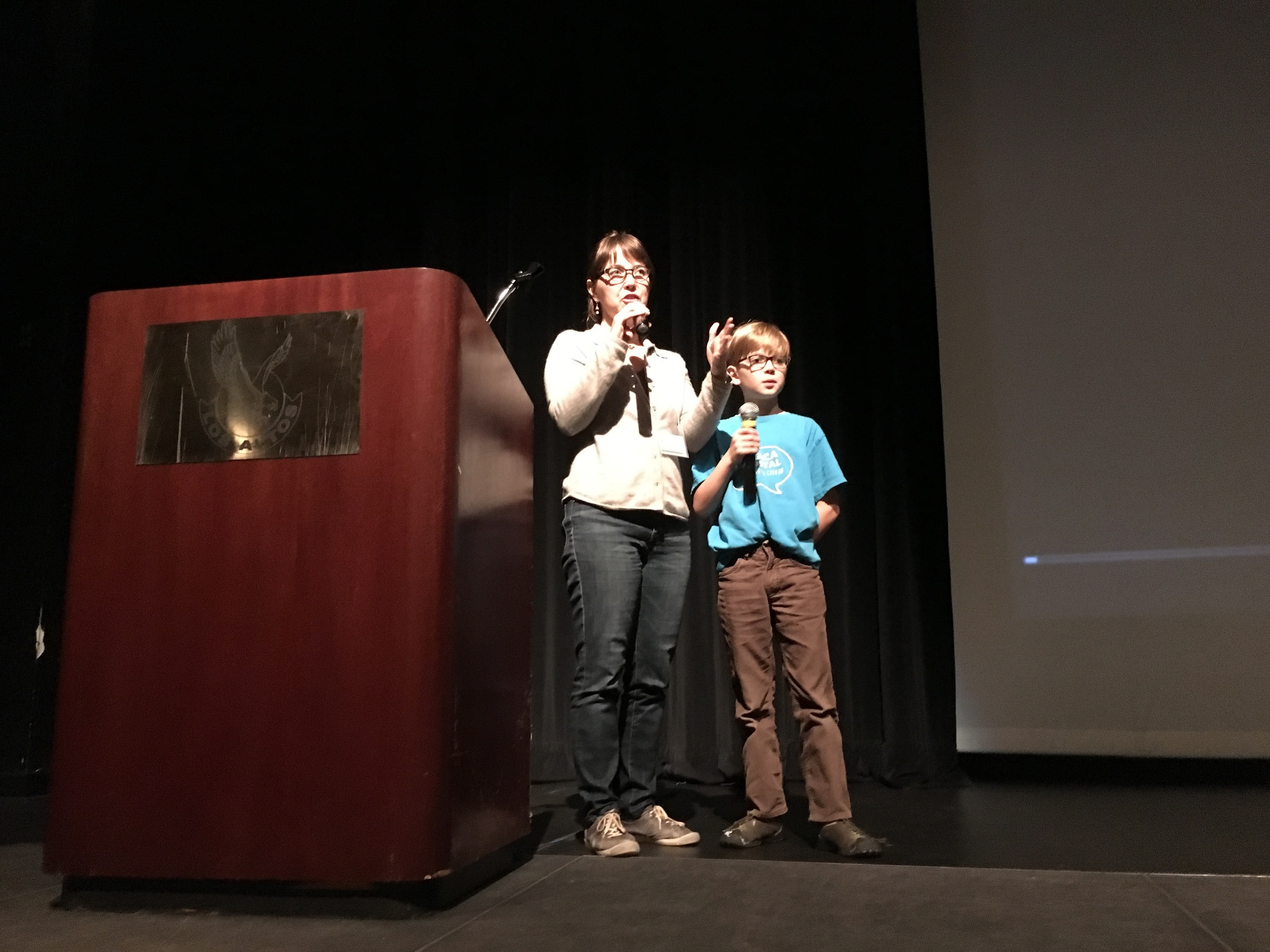 Vanessa and Elliot answer questions at a Los Altos High School screening of Worse Than Poop!