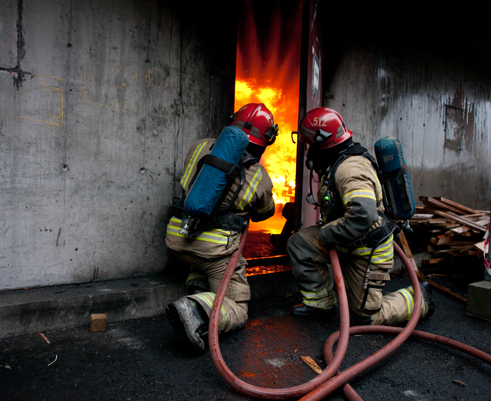 Firefighters during exercise
