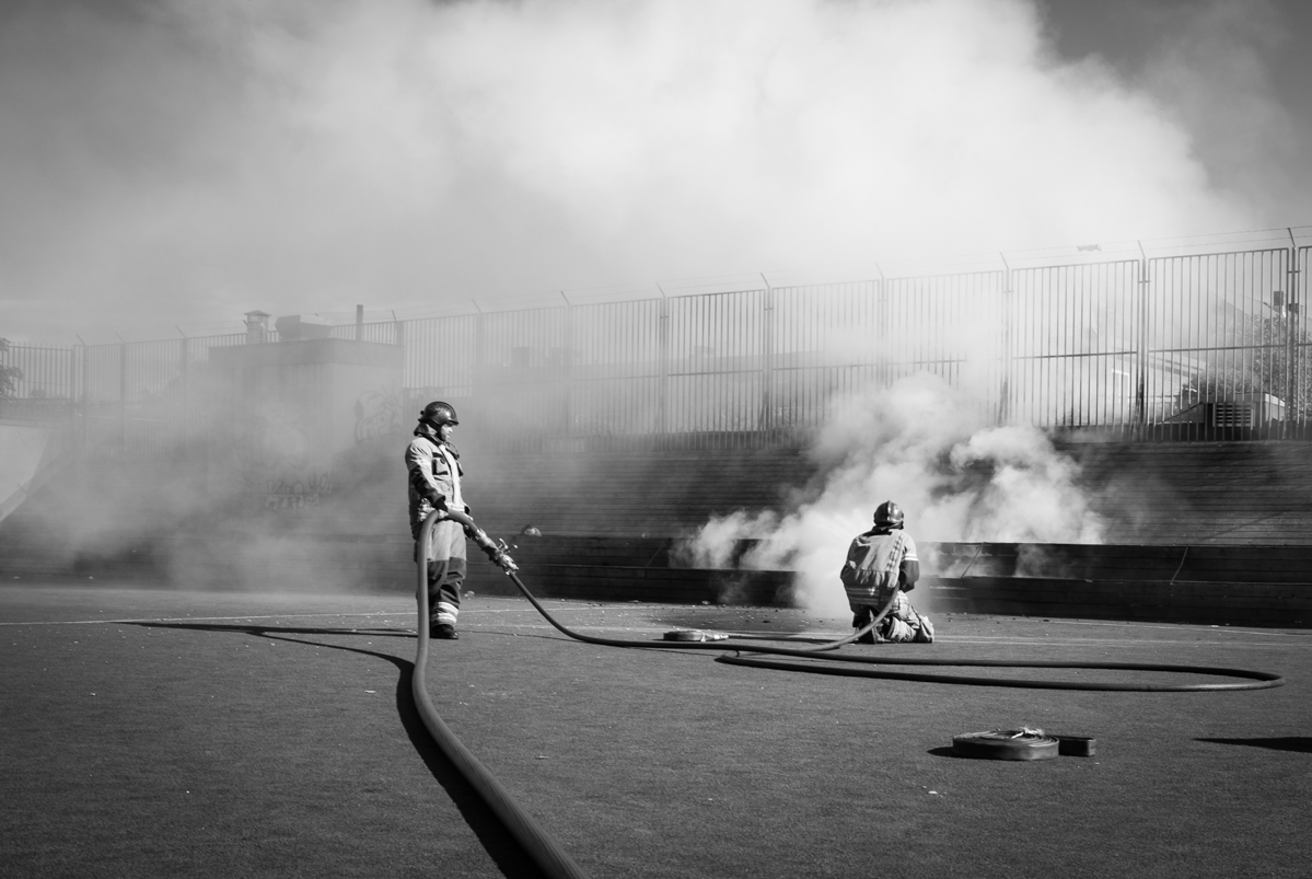 Firemen extinguished a fire on a football pitch in Oslo
