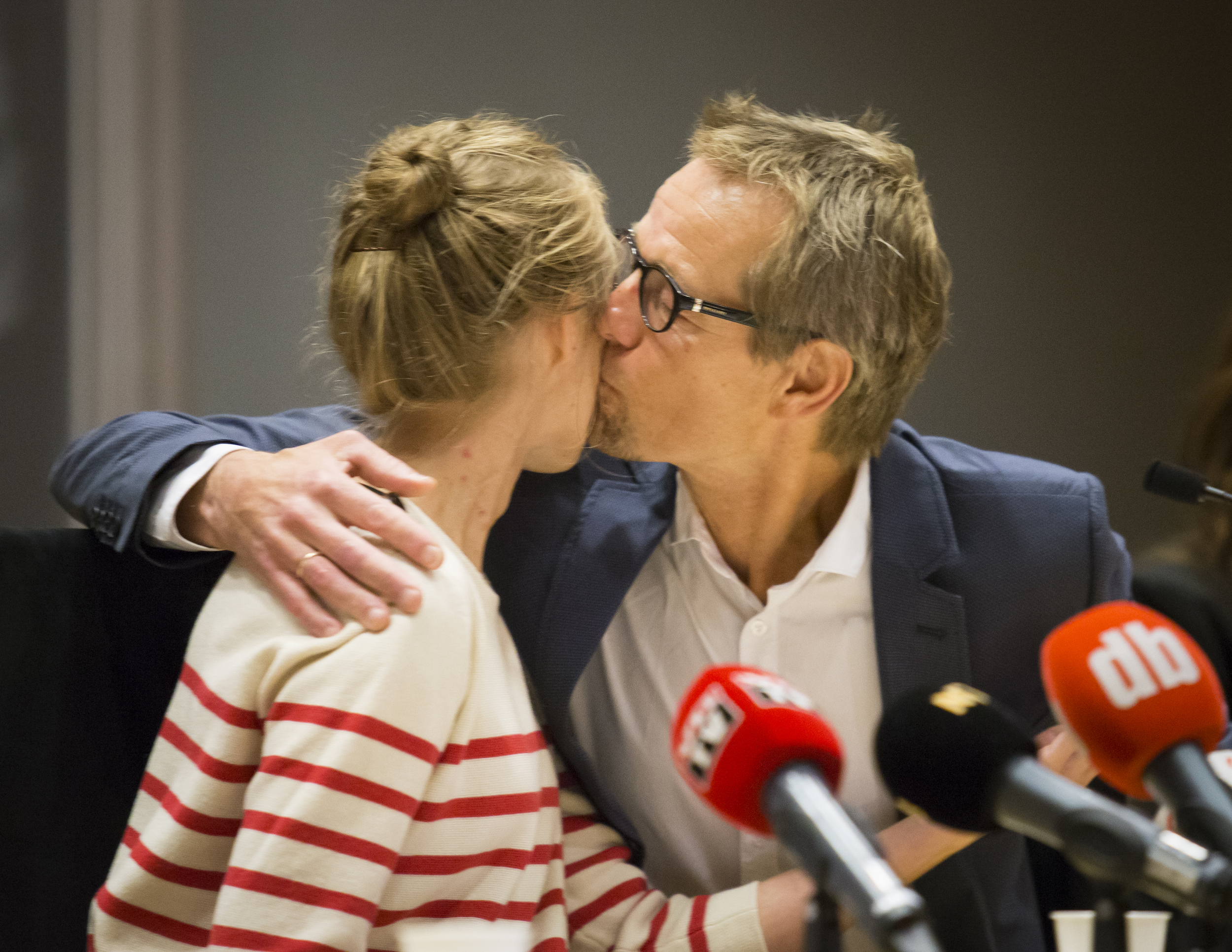 Silje Lehne Michalsen gets a kiss from her father after she has recovered from Ebola
