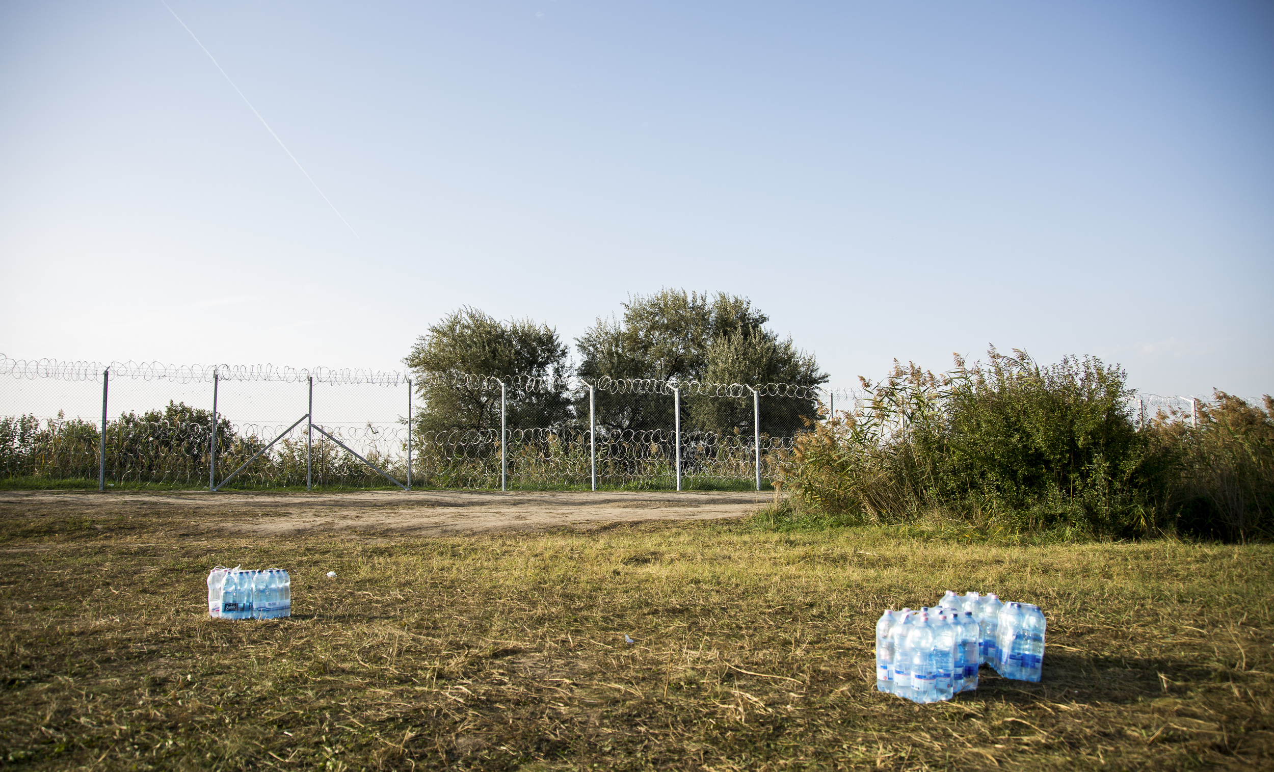 Water station for the police still guarding the border.