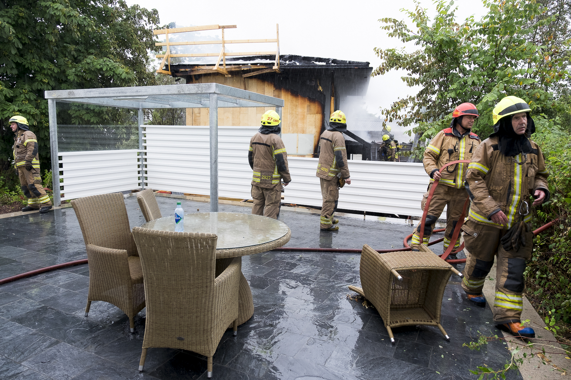A group of firefighters extinguished a fire in a home that has under construction at Bygdøy, Oslo