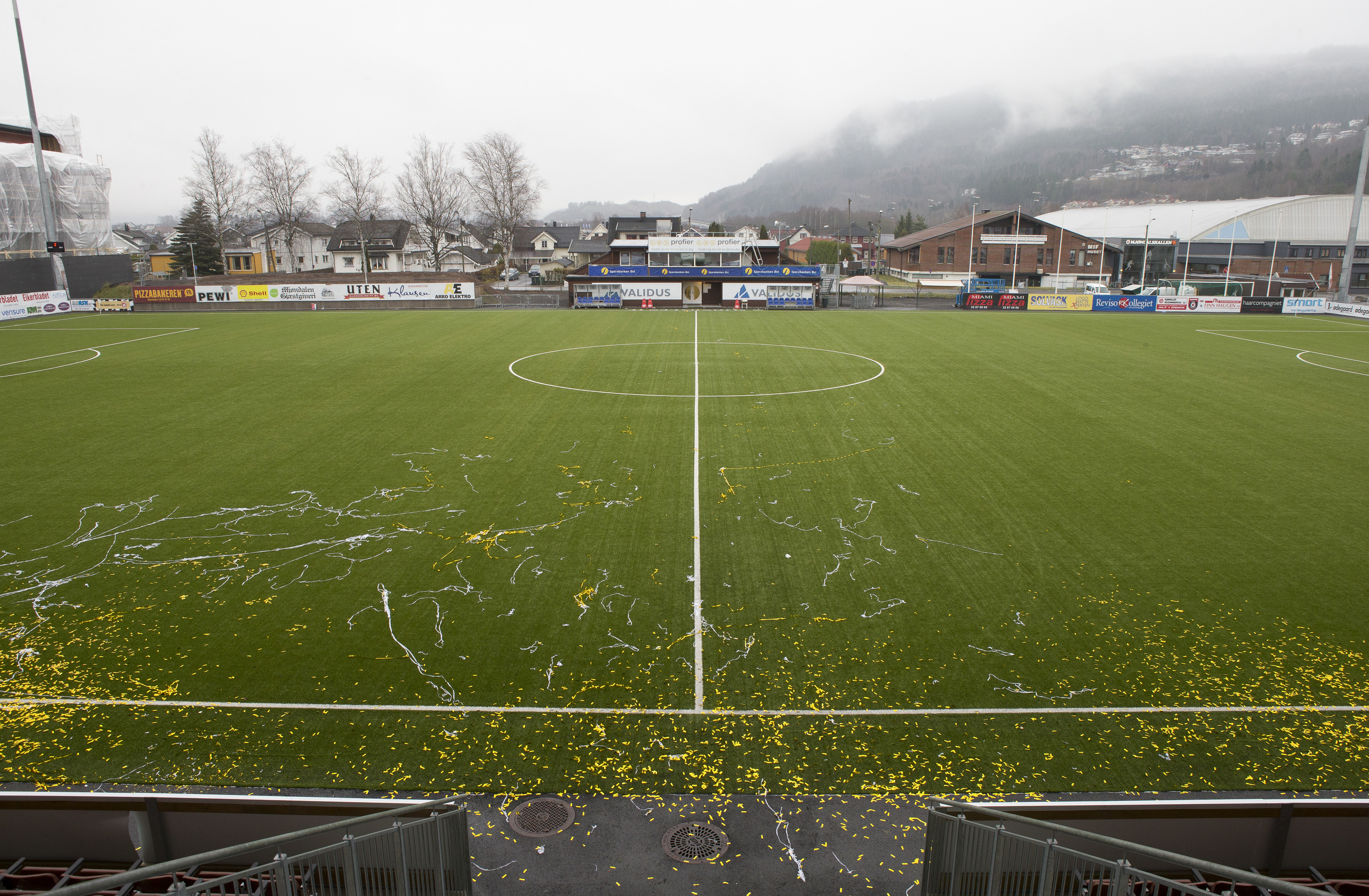 The football field the day aften Mjøndalen football club moved up to the highest division in Norwegian football
