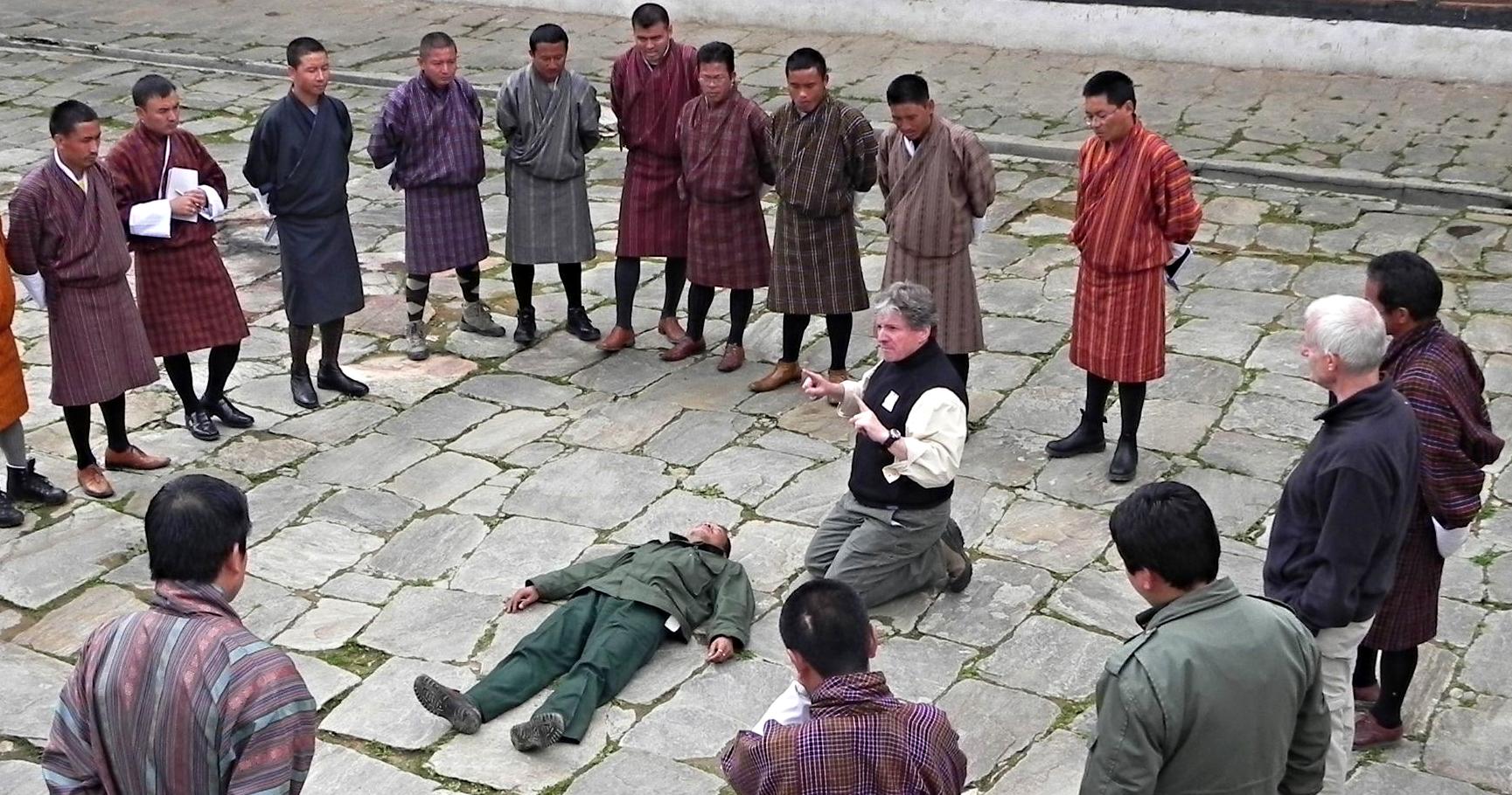 Lodestone founder bill frederick conducts a training simulation in bhutan.