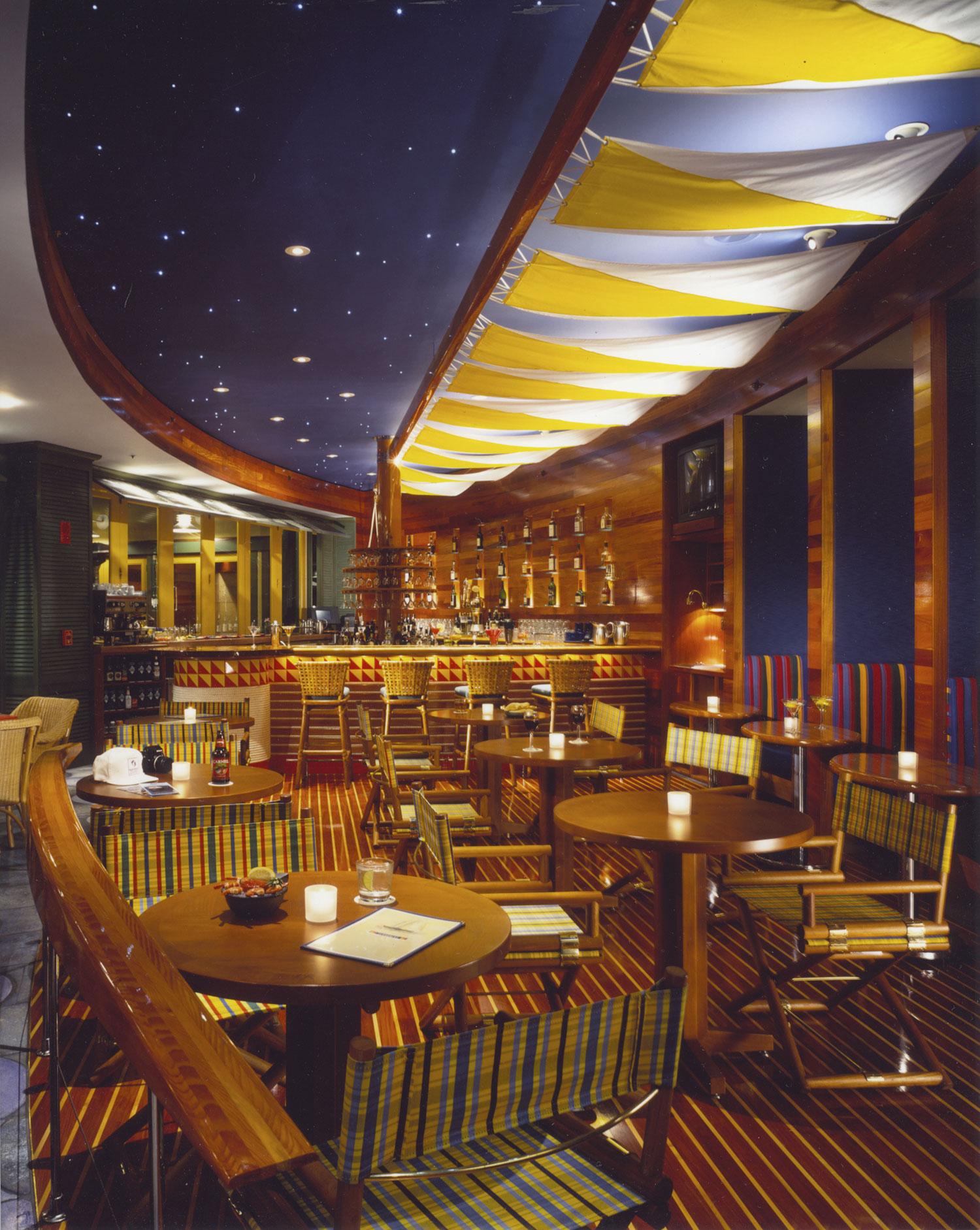 SCHOONERS BAR & BISTRO  work completed for former employer    Architect: Brayton & Hughes Design Studio  Project Designer: Timothy Gemmill  Project Type: Bar & Bistro, Monterey Plaza Hotel  Year of Completion: 1996