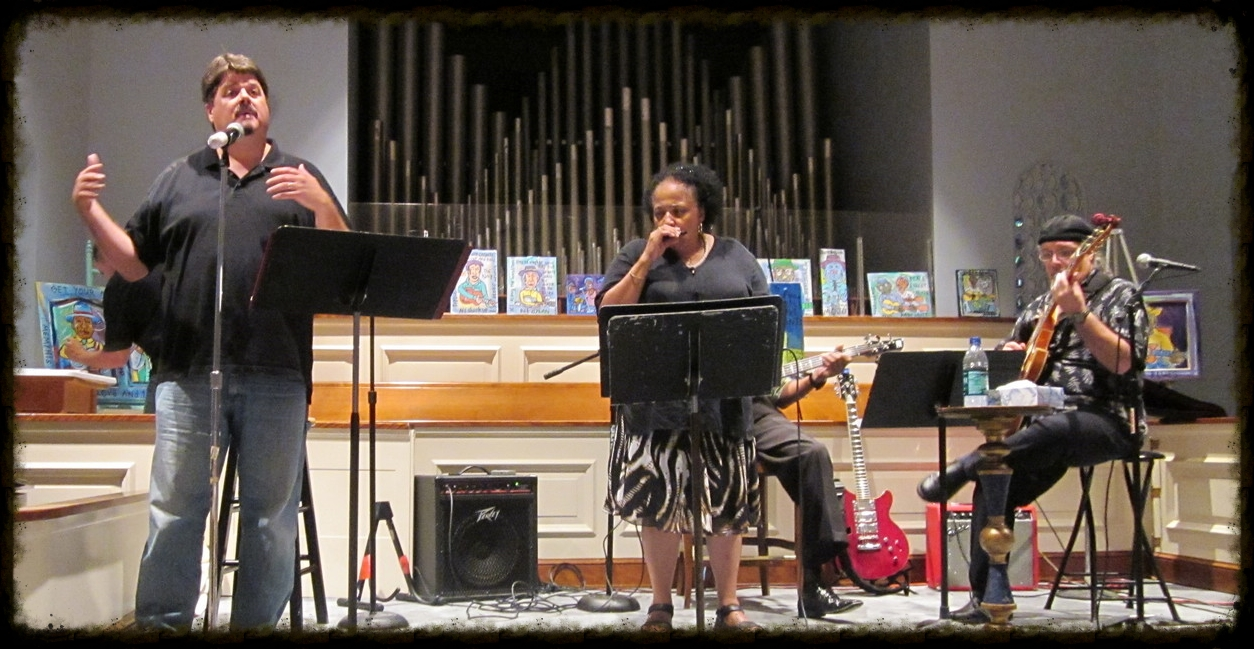 Bert sharing God's Mojo at FBC Memphis, July 2011, with help from The Joyce Cobb Trio and live art from Ken Pease.