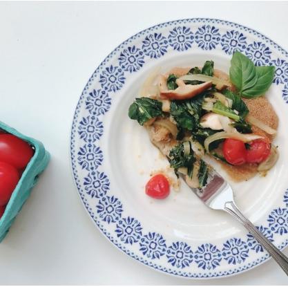 Amaranth Polenta with Mushrooms, Basil & Greens
