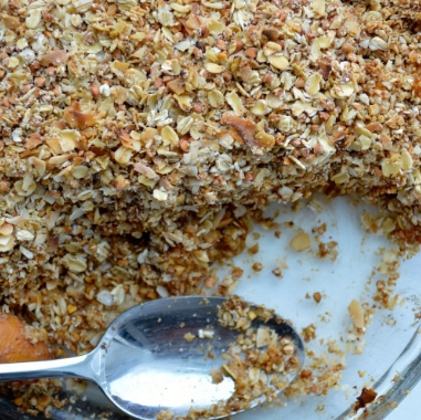 Toasted Coconut And Cardamom Peach Crumble