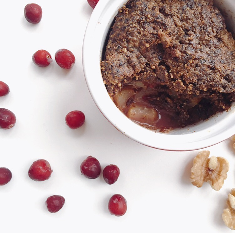 Warm Pear Bake with Cocoa-PluM Crust