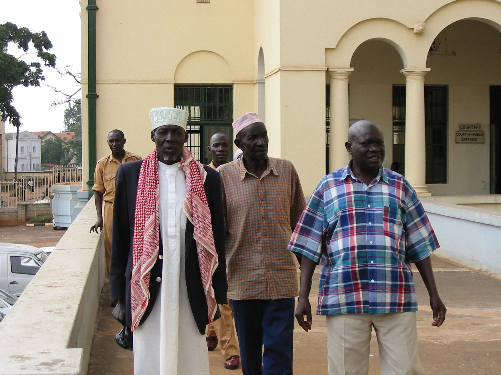 The accused (from left): Mohammed Anyule, Nasur Gille, Yusuf Gowon (Andrew Rice)