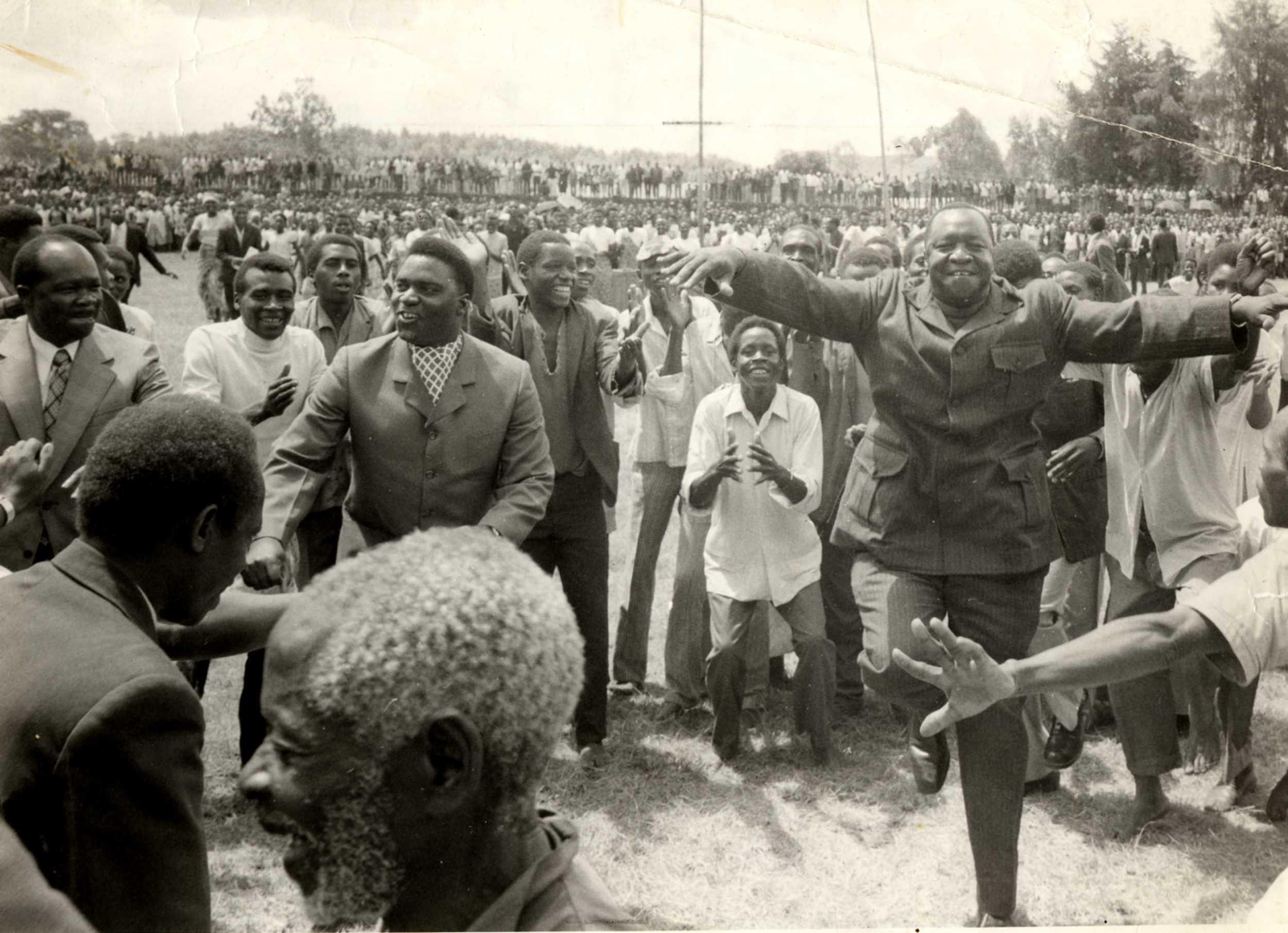 Idi Amin dancing with his fellow dictator, Rwanda's Juvénal Habyarimana. (The New Vision)
