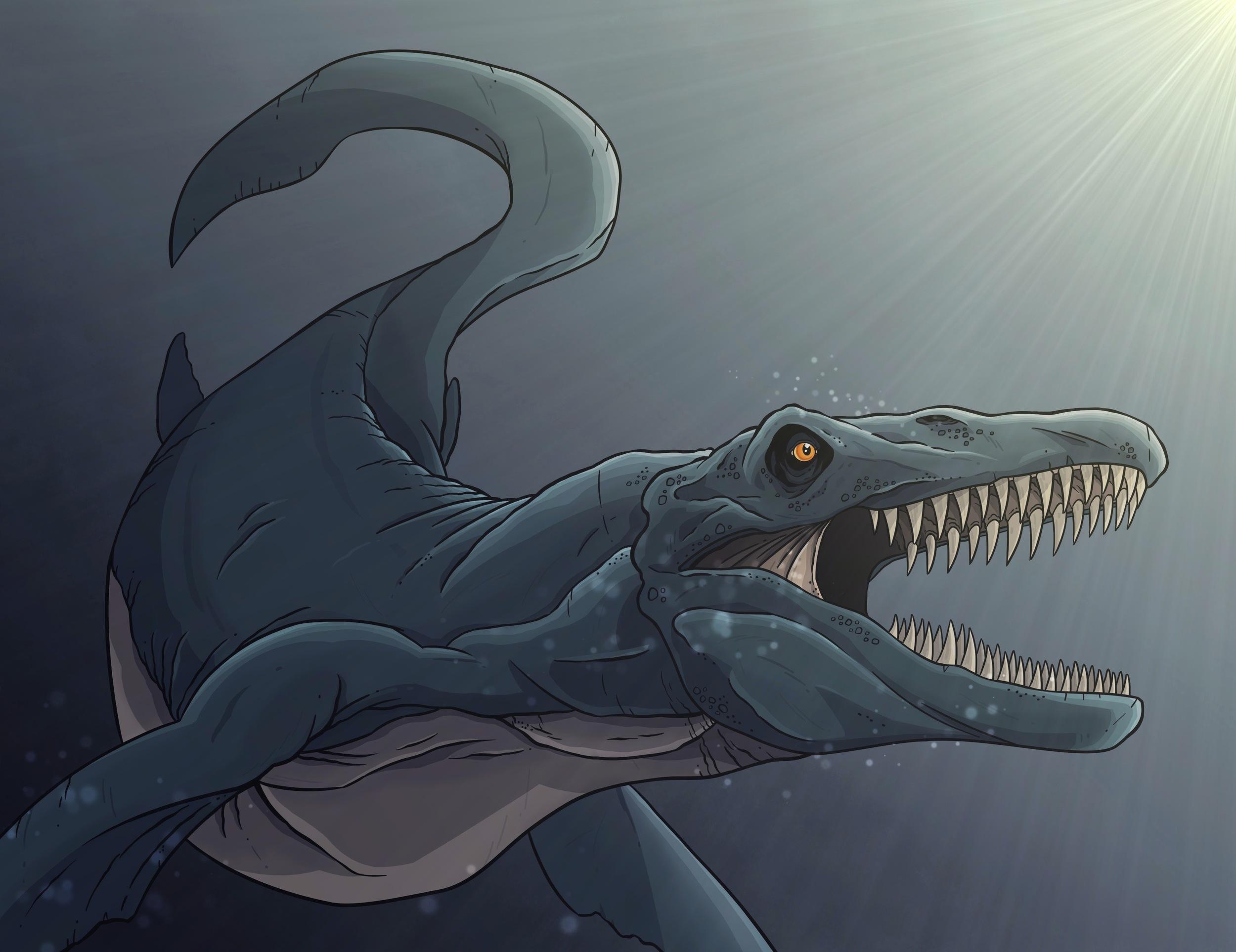 An aquatic reptile, in fact, not a dinosaur.